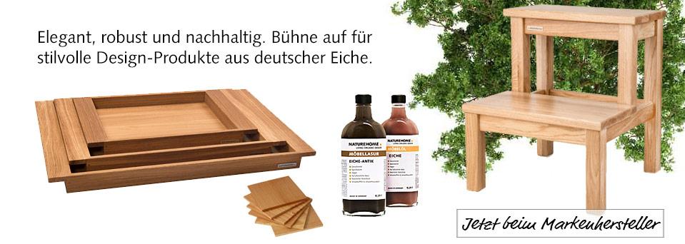 Eiche Holz Trend Tablett Hocker design Natur Bio NATUREHOME
