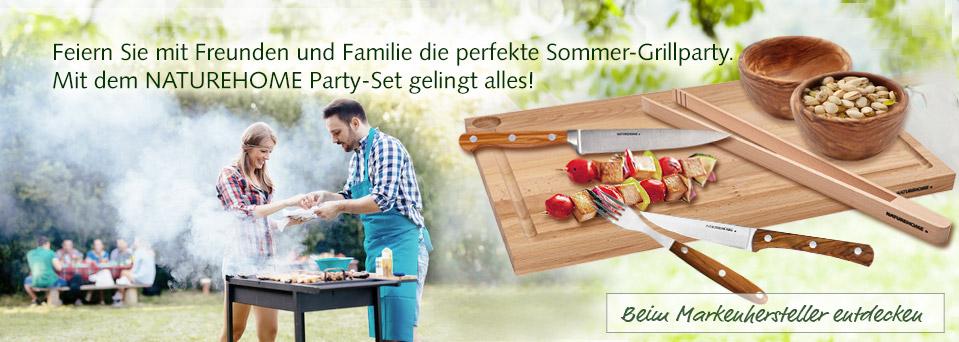 Grillen Grill-Set Schneidebrett Messer Besteck Grillzange NATUREHOME