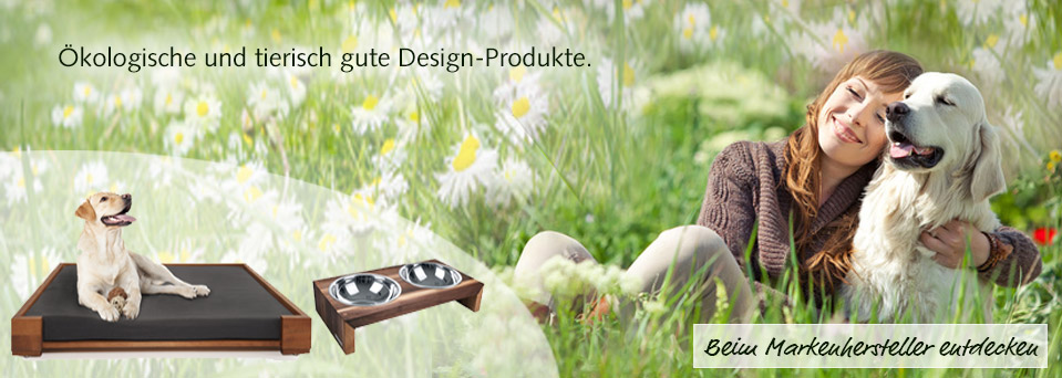 Hund Fress-Napf Hundesofa Hundebett Korb Design Holz NATUREHOME
