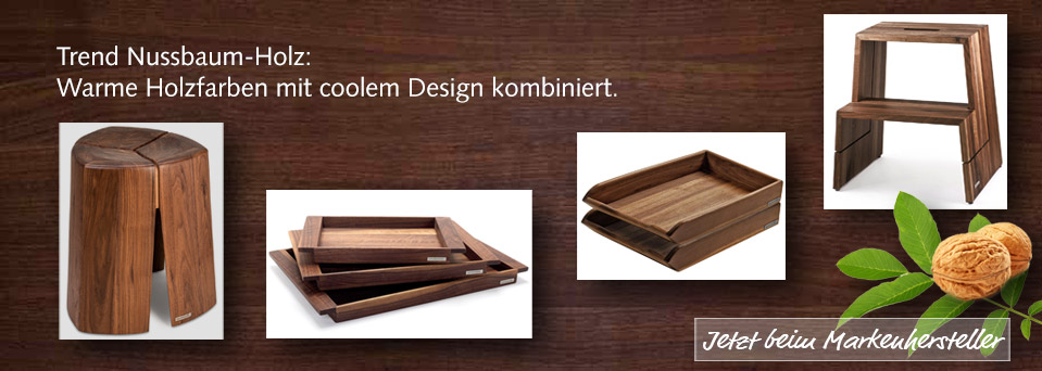 Nussbaum Holz Trend Tablett Hocker Ablage NATUREHOME
