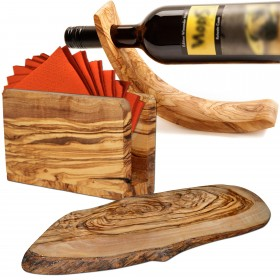3-piece olive wood ambience set: wine bottle and napkin holder plus oval tree disc