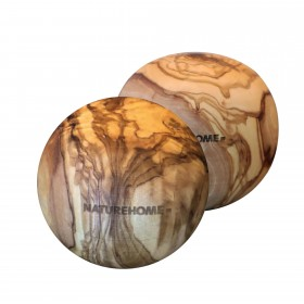 2 pieces of wooden balls olive wood, 7 cm