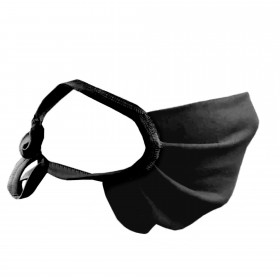 Lace-up nose and mouth mask, black