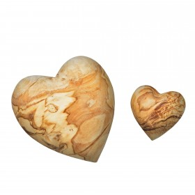 Set 2x deco heart olive wood 5 + 10 cm