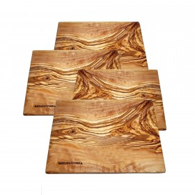 4 pieces Cakes plate square olivewood 20x15x1cm Desert plate