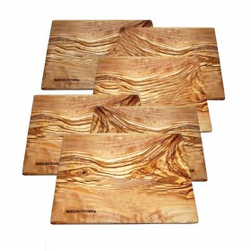 6 pieces Cakes plate square olivewood 20x15x1cm Desert plate