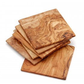 Set of 6x glass coasters olive wood