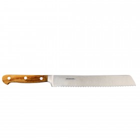 Professional-bread knife with olive wood handle