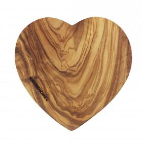 Cutting board heart shaped olive wood, 17-20 cm