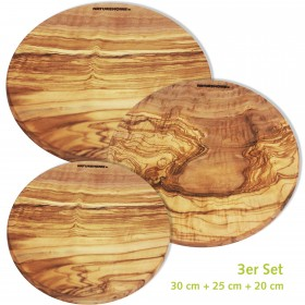 Set of 3 cutting boards round olive wood, in 3 sizes