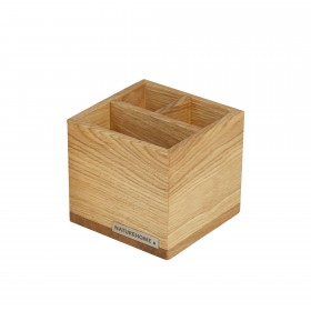 Office pencil box pen holder CLASSIC oak wood