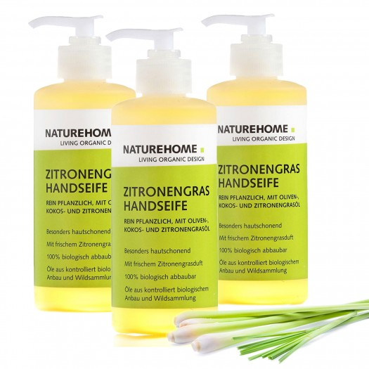 Bio Handseife Citrus Zitronengras Spenderflasche Set 3x 300 ml