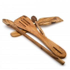4-tlg. Küchenhelfer-Set Olivenholz: Pfannenwender / Holzlöffel / Honiglöffel / Tortenheber