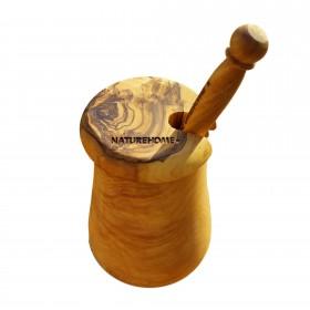 DESIGN Honigtopf mit Honiglöffel Olivenholz