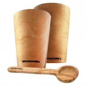 3-tlg. Kaffee-Set: 2 Kaffeebecher, 1 Meßlöffel
