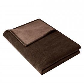 Wohndecke IDA aus 100% Baumwolle Bio, 140 x 200 cm, Schokobraun