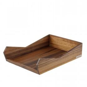 Ablage SKRIPT Nussbaum-Holz A4 stapelbar 35 x 24 x 8 cm