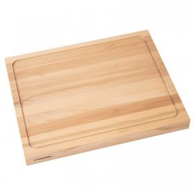 Holzschneidebrett aus Buche beidseitig Saftrille 50x40cm