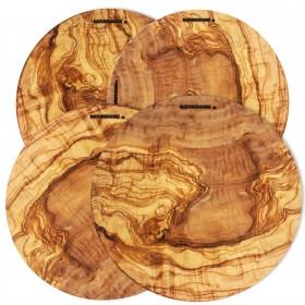 4er Set Pizzateller Olivenholz rund, 30 cm