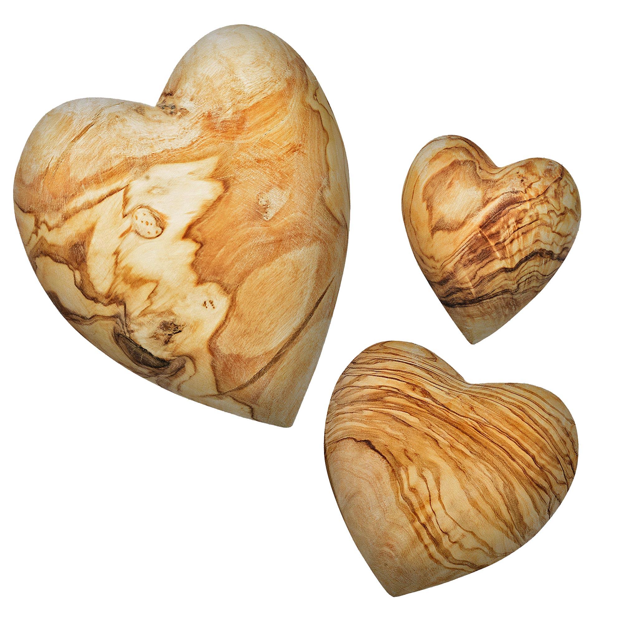 Olivenholz-Herzen
