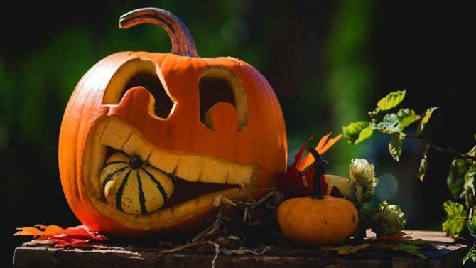 Kürbisgesicht Halloween als Deko